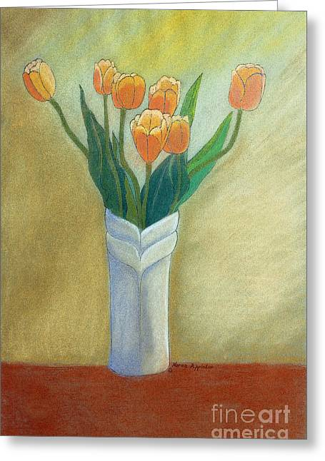 Golden Tulips Greeting Card by Norma Appleton