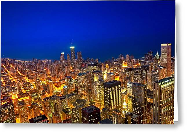 Dusk At The Lake Greeting Cards - Golden Valleys - Chicago Aerial View At Dusk Greeting Card by Mark E Tisdale