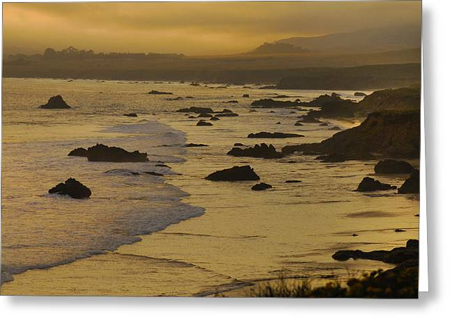 Big Sur California Greeting Cards - Golden Waves Greeting Card by Don Wolf