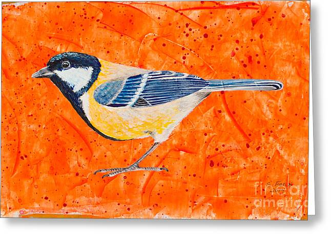 White Paintings Greeting Cards - Golden Whistler Greeting Card by Stefanie Forck