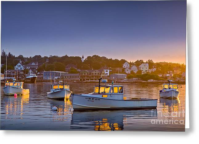 Best Sellers -  - New England Village Greeting Cards - Golden Windows Greeting Card by Susan Cole Kelly