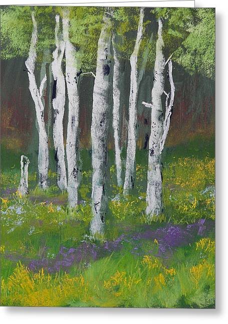 Green Foliage Pastels Greeting Cards - Goldenrod Among the Birch Trees Greeting Card by David Patterson