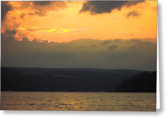 Keuka Greeting Cards - GoldenSun And Clouds at the Lake Greeting Card by Alison Squiers