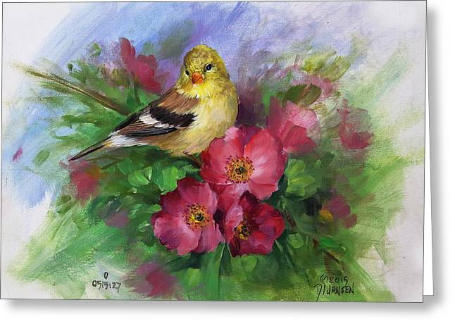 Recently Sold -  - Landscape Framed Prints Greeting Cards - Goldfinch and Wild Roses Greeting Card by David Jansen