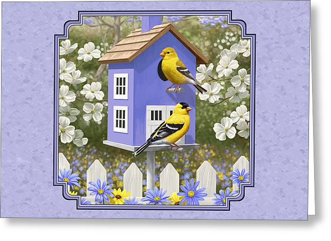 Goldfinch Birdhouse Lavender Greeting Card by Crista Forest