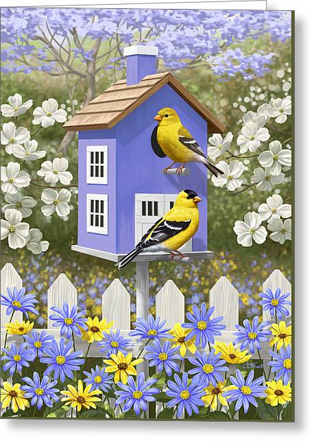 American Goldfinch Greeting Cards - Goldfinch Garden Home Greeting Card by Crista Forest