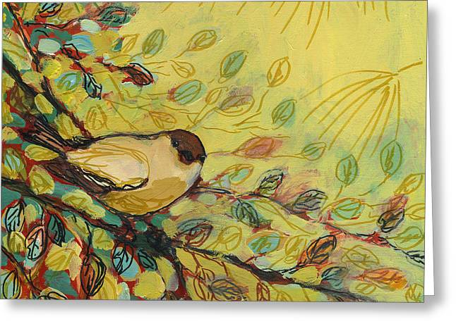 Jennifer Lommers Greeting Cards - Goldfinch Waiting Greeting Card by Jennifer Lommers