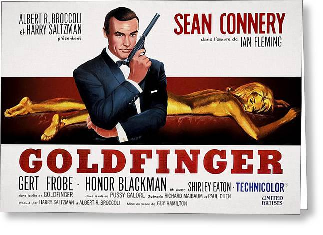 Pussy Mixed Media Greeting Cards - Goldfinger James Bond French Lobby Poster Painterly Greeting Card by Daniel Hagerman