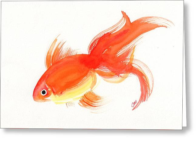 Goldfish Paintings Greeting Cards - Goldfish 5 Greeting Card by Jessica Matthews