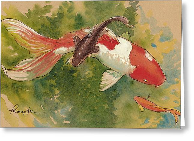 Goldfish Mixed Media Greeting Cards - Goldfish Crossing Greeting Card by Tracie Thompson