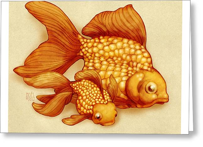 Neutral Background Greeting Cards - Goldfish I Greeting Card by Catherine Noel