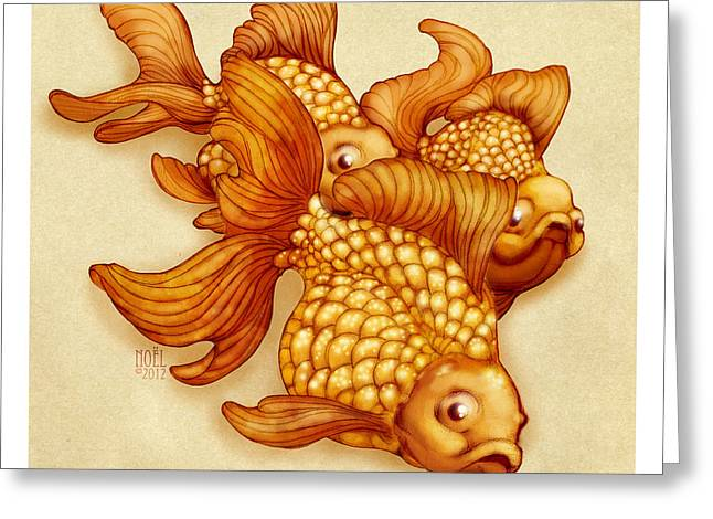 Catherine Mixed Media Greeting Cards - Goldfish III Greeting Card by Catherine Noel