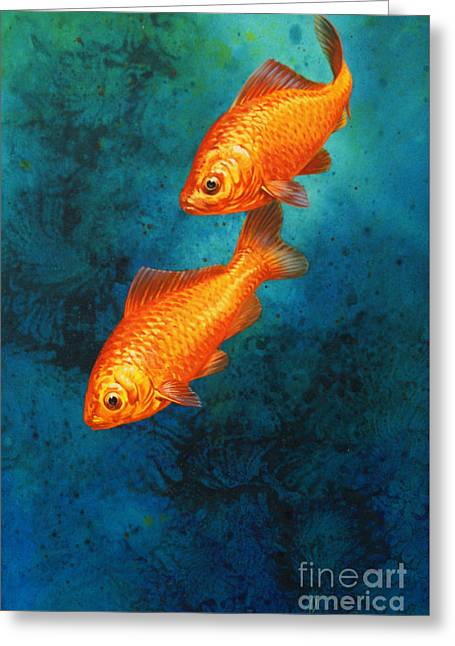 Two Fish Greeting Cards - Goldfish Greeting Card by John Francis
