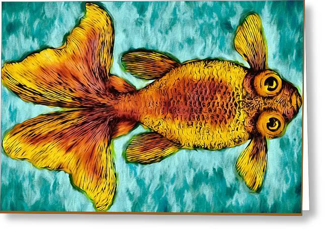 Aquarium Fish Drawings Greeting Cards - Goldfish Greeting Card by John K Woodruff