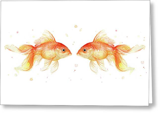 Goldfish Love Watercolor Greeting Card by Olga Shvartsur