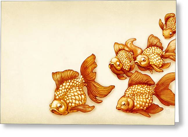Goldfish Mixed Media Greeting Cards - Goldfish School Greeting Card by Catherine Noel