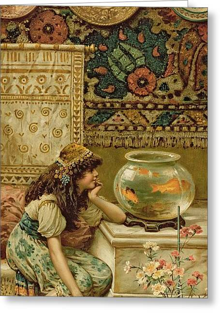 Wall Hanging Greeting Cards - Goldfish Greeting Card by William Stephen Coleman