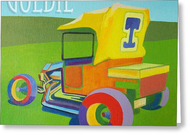 Runabout Greeting Cards - Goldie Model T Greeting Card by Evie Cook