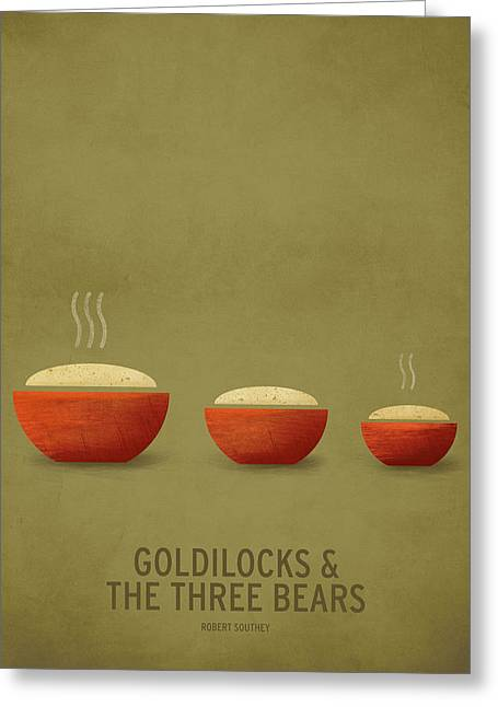 Minimalist Greeting Cards - Goldilocks and the Three Bears Greeting Card by Christian Jackson