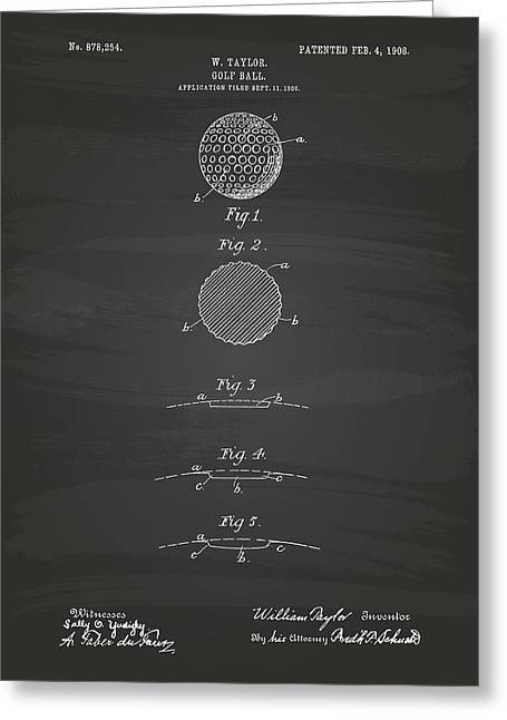 Technical Digital Art Greeting Cards - Golf Ball 1908 Patent Art - Chalkboard Greeting Card by Ray Tawer