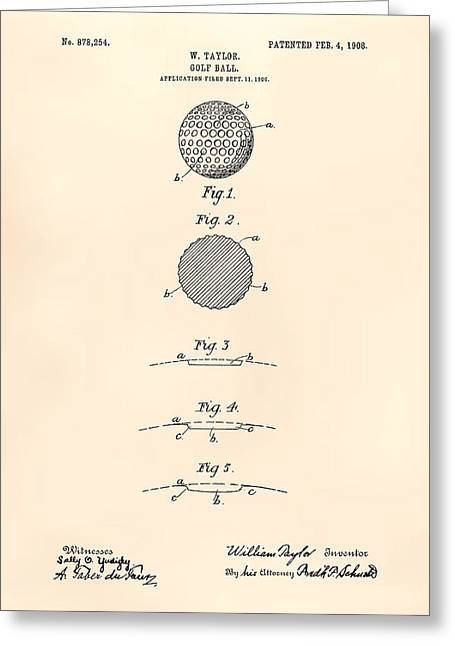 Technical Digital Art Greeting Cards - Golf Ball 1908 Patent Art - Old Peper Greeting Card by Ray Tawer