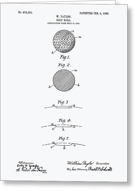 Technical Digital Art Greeting Cards - Golf Ball 1908 Patent Art - White Paper Greeting Card by Ray Tawer