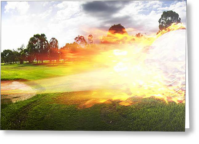 Sports Montage Greeting Cards - Golf Ball On Fire Greeting Card by Ryan Jorgensen