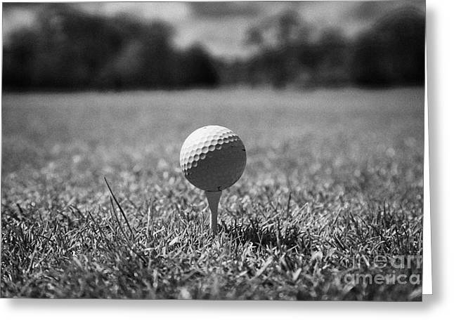 Anticipation Photographs Greeting Cards - Golf Ball On The Tee Greeting Card by Joe Fox