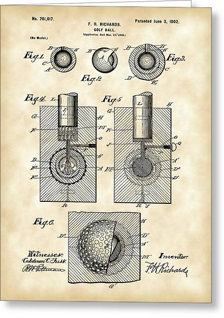 Illustration Greeting Cards - Golf Ball Patent 1902 - Vintage Greeting Card by Stephen Younts