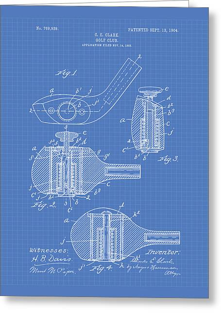 Technical Digital Art Greeting Cards - Golf Club 1904 Patent Art - Blueprint Greeting Card by Ray Tawer
