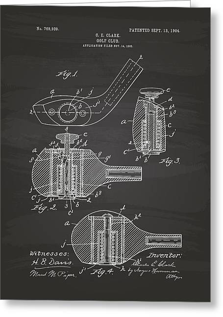 Technical Digital Art Greeting Cards - Golf Club 1904 Patent Art - Chalkboard Greeting Card by Ray Tawer