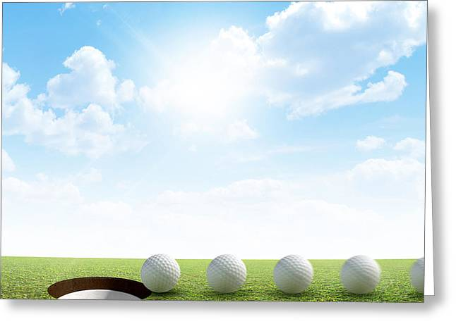 Sink Holes Greeting Cards - Golf Hole And Ball Putt Path Greeting Card by Allan Swart