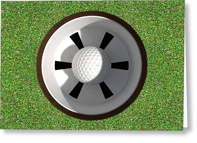 Sink Holes Greeting Cards - Golf Hole With Ball Inside Greeting Card by Allan Swart