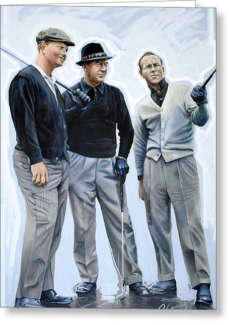 Snead Greeting Cards - Golf Legends No 1 Greeting Card by Mark Robinson