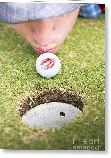 Desperate Greeting Cards - Golf Love At First Flight Greeting Card by Ryan Jorgensen