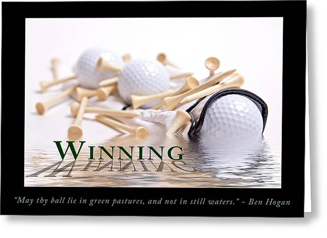 Glove Ball Greeting Cards - Golf Motivational Poster Greeting Card by Tom Mc Nemar