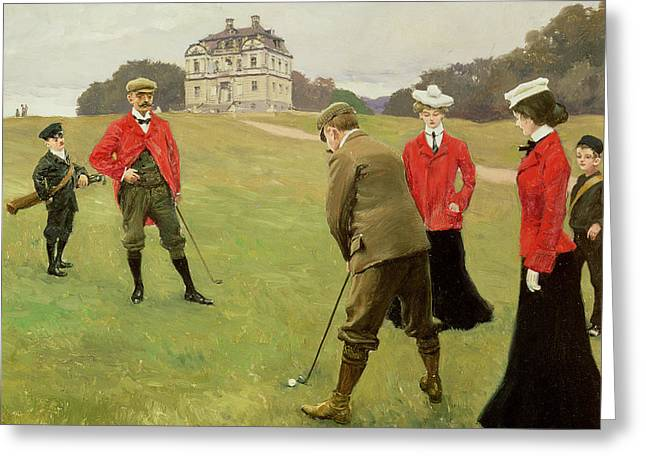 Linked Paintings Greeting Cards - Golf Players at Copenhagen Golf Club  Greeting Card by Paul Fischer