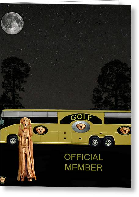 Us Open Mixed Media Greeting Cards - Golf world tour Scream Greeting Card by Eric Kempson
