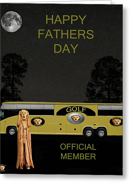Tour Bus Mixed Media Greeting Cards - Golf  World Tour Scream Happy fathers Day Greeting Card by Eric Kempson