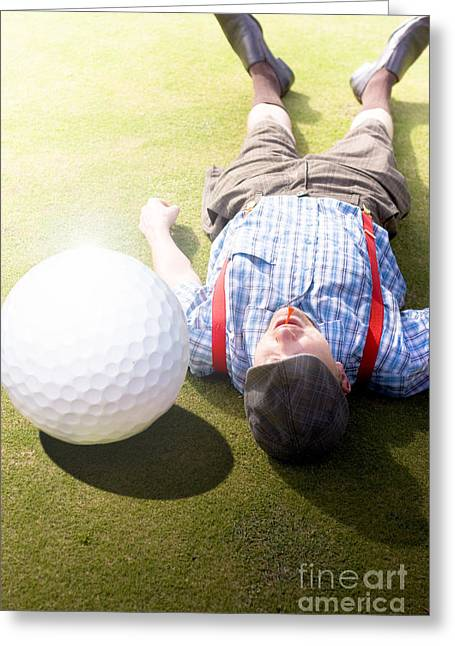 Sports Montage Greeting Cards - Golfer Didnt See That One Coming Greeting Card by Ryan Jorgensen