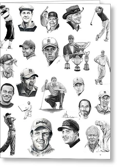Tiger Illustration Greeting Cards - Golfers Greeting Card by Murphy Elliott