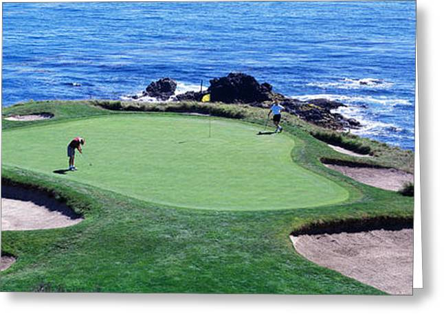 California Beach Greeting Cards - Golfers Pebble Beach, California, Usa Greeting Card by Panoramic Images