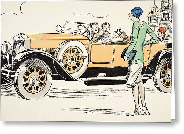 Steering Drawings Greeting Cards - Golfing at Deauville Greeting Card by Sem