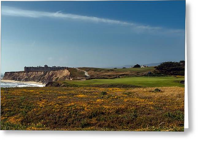 Golfing On Half Moon Bay Greeting Card by Mountain Dreams