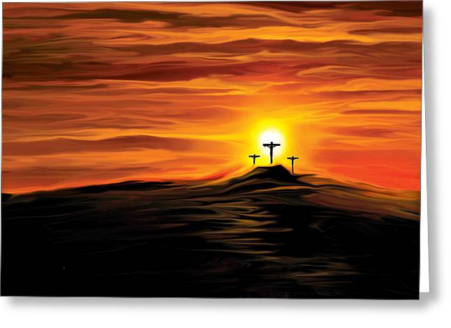 Sacrifice Mixed Media Greeting Cards - Golgotha Greeting Card by Richard Russ