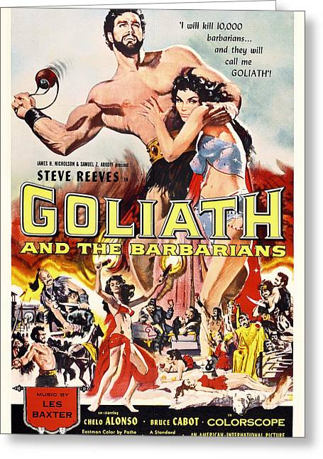 1950s Movies Greeting Cards - Goliath And The Barbarians 1959 Greeting Card by Mountain Dreams
