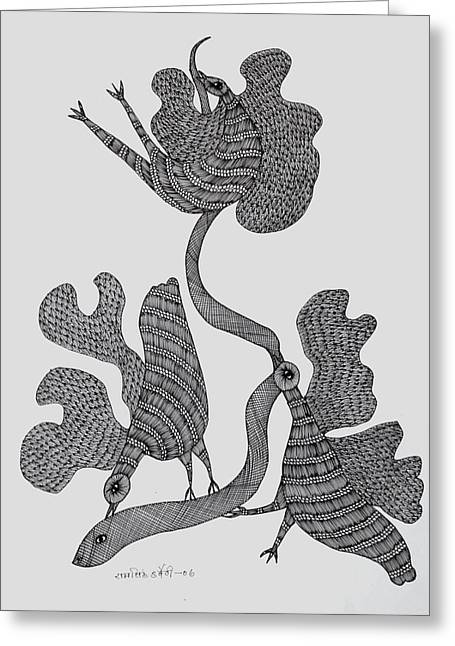 Jangarh Singh Shyam Paintings Greeting Cards - Gond 2006 Greeting Card by Ram Singh Urveti
