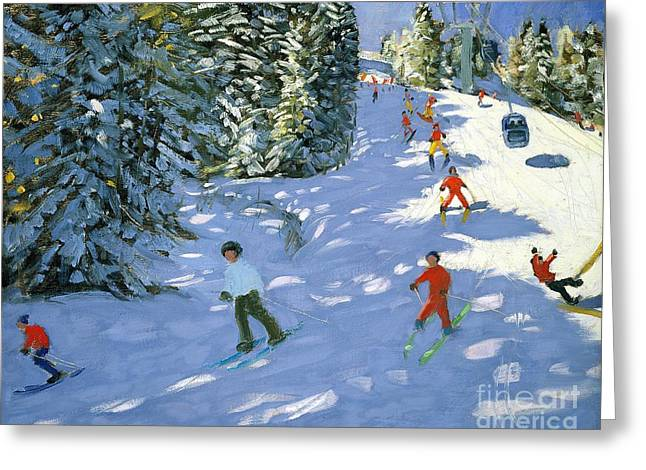 Lessons Paintings Greeting Cards - Gondola Austrian Alps Greeting Card by Andrew macara