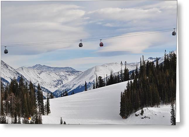 Ski Art Greeting Cards - Gondola Greeting Card by Martina Niederhauser