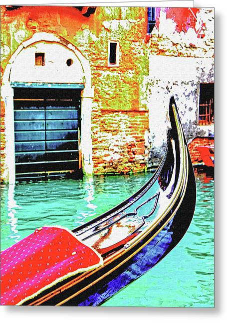 Gondola Moored On A Venetian Canal - Venice, Italy, Europe Greeting Card by Marzia Giacobbe